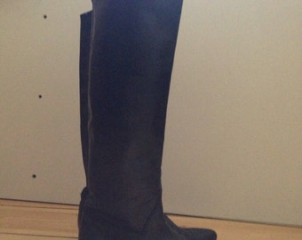 80s Black super tall over the knee boots