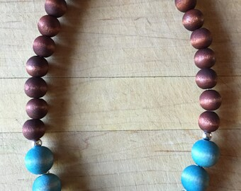 Turquoise Bead Necklace, Turquoise Necklace, Bohemian Jewlery, Handmade Necklace, Wood Bead Necklace, Boho Necklace, Gift
