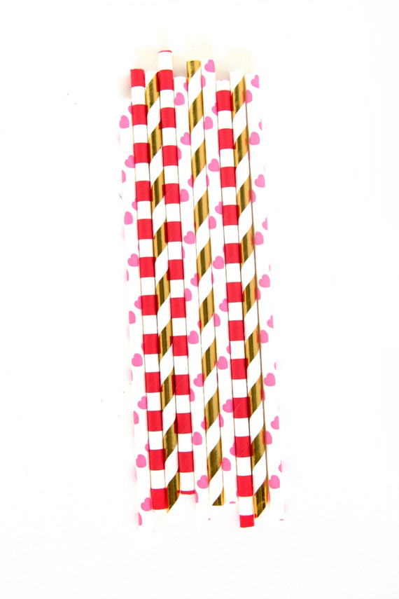 Roses Are Red Straw With Gold Flag, Heart Paper Straw, Gold Straw Flag, Baby Shower or Wedding Straw, Valentine Day Straw, Stripe Gold Straw