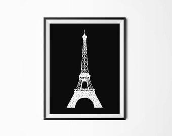 Eiffel tower Printable poster Paris Printable art Scandinavian poster Modern art Nordic decor Black and white Polka dots