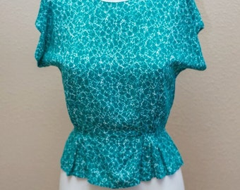 Benson & Smith ~ Vintage Turquoise Waters Peplum Top - Small 5/6