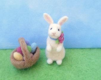 Needle Felt Easter Bunny and Egg Basket