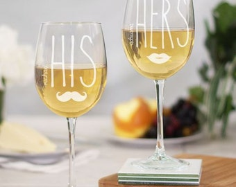 His and Hers Engraved Wine Glass Set, Personalized Wine Glass Set