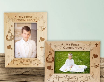 My First Communion Engraved Wood Frame, Communion Picture Frame, Custom First Communion Frame