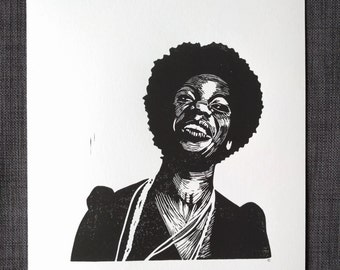 Nina Simone Hand Pulled Block Print