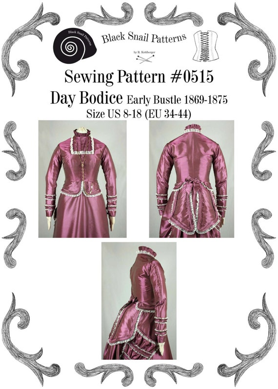 Victorian Bodice Early Bustle PDF Sewing Pattern #0515 Size US 8-30 ...