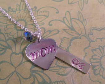 Breast Cancer stamped necklace