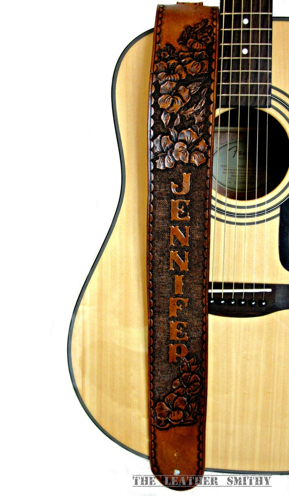 Hibiscus Flower Leather Guitar Strap By Theleathersmithy