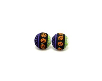 Halloween earrings - Jack o'lantern fabric button earrings - pumpkin earrings - hypoallergenic earrings - jack o' lantern earrings