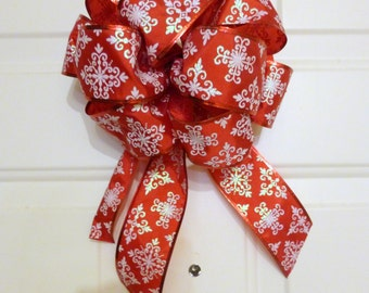 Red wreath bow - red an white Christmas wreath bow - outdoor door bow - weatherproof Christmas bow