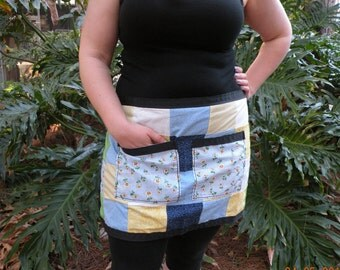 Flower - Handmade - Patchwork - Half Apron (Blue, Yellow, White)