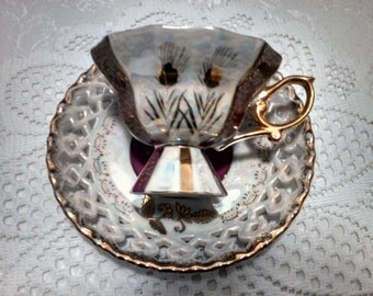 Vintage LustrewareTea Cup and Reticulated Saucer by Royal Sealy, Footed Cup, Wheat, Ruby and Gold, Mid Century, Circa 1950s
