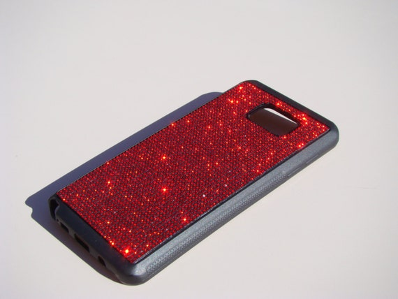 Galaxy Note 5 Red Siam Rhinestone Crystals on Black Rubber Case. Velvet/Silk Pouch Bag Included, Genuine Rangsee Crystal Cases