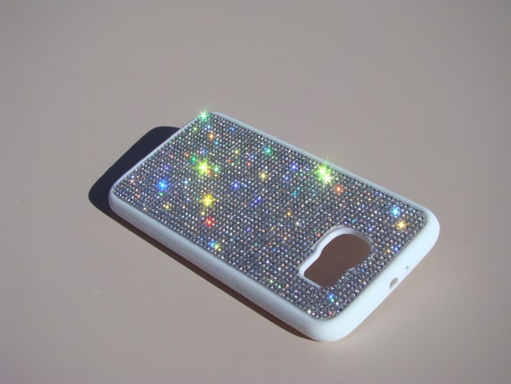 Galaxy S6 Clear Diamond Crystals on White Rubber Case. Velvet/Silk Pouch Bag Included, Genuine Rangsee Crystal Cases.