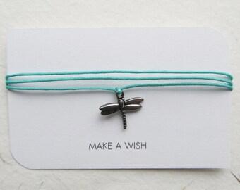 Wish bracelet, make a wish, friendship bracelet, dragonfly bracelet
