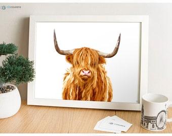 Highland Cow, Modern Digital Painting, Scotland Print, Animal Illustration