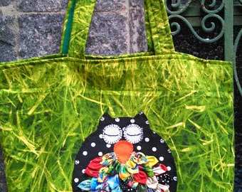 Upcycled Green Grass Colorful Owl Shoulder Bag