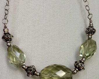 Green Amethyst Necklace, Gemstone Necklace, Sterling Silver Necklace