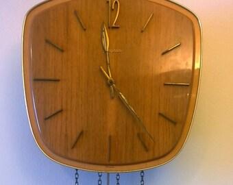 Junghans German Teak Design Wall Clock Retro Mid Century 1970s Hand-Crafted