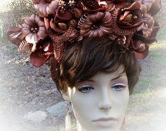 FLASH SALE - 25 % off Gilded Lady Copper Floral Vintage Inspired Headpiece