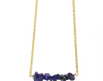 Gemstone Necklace, Gemstone Bar Necklace, Chip Necklace, Navy, Blue, Lapis Lazuli, Dainty Necklace, Boho, Gold, Delicate, Layering Necklace