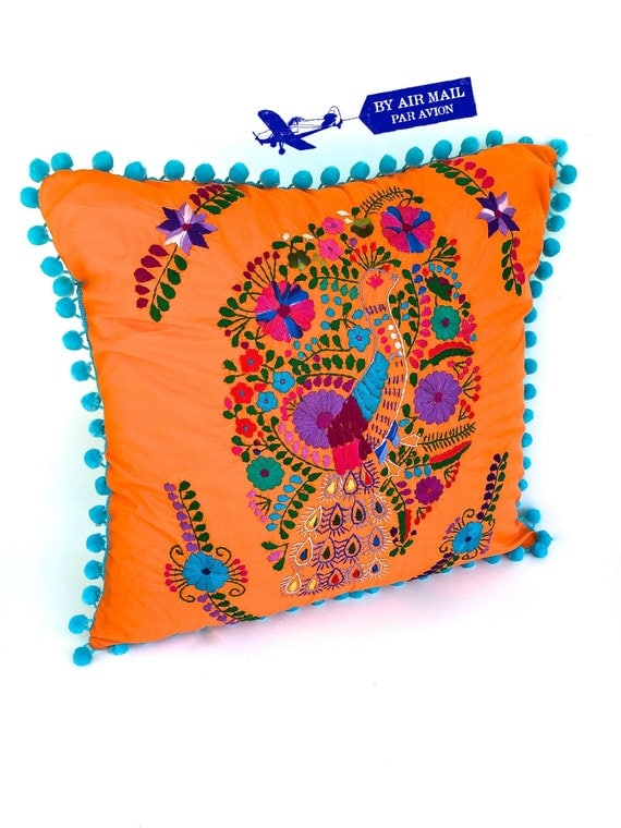 Orange embroidered mexican pillow cover square