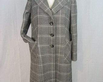 Long wool Plaid Vintage coat