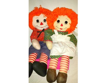 "Vintage Raggedy Ann and Andy Rag Dolls,LARGE, 26"" Tall,Handmade Rag Dolls,Raggedy Ann,Raggedy Andy,OOAK,Raggedy Ann Doll,Vintage,Cloth Doll"
