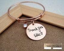 30% OFF NEW DESIGN Engraved Handwriting Disc Bracelet - Actual Signature Engraved Bracelet - Friendship Bangle - Adjustable Style Bracelet