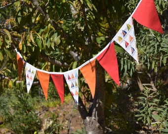 Sail boat- Nautical fabric bunting, fabric banner. Reusable, perfect for birthdays, play rooms, photo prop
