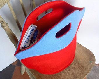 Light Blue and Red Felt Handbag. Free UK Postage