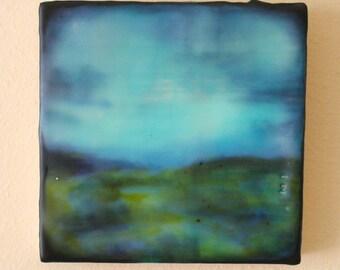 """Original encaustic painting, encaustic art, mixed media- """"distance"""" series"""