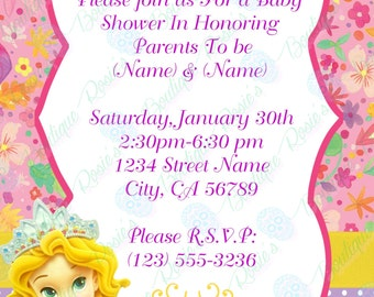 rapunzel baby shower invitations