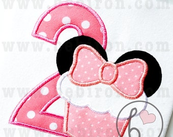 Mouse Ears Cupcake Second Birthday Number Two 2 Girl Applique Design Machine Embroidery Pattern Instant Download