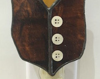 Brown Stained Glass Vest with Buttons
