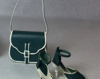 Modern shoulder bag with matching shoes, 1/12 scale, hand-made
