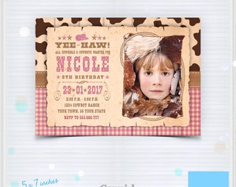 Cowgirl Birthday Invitation - Printable Cowgirl Birthday Invitation - West Cowgirl Party Invite - Country Western - PSD  Photoshop Template