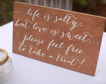 Take a Treat - Wooden Wedding Signs - Wood