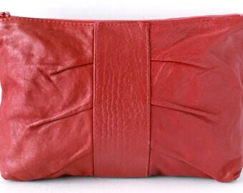 Large Vintage Croc Red Italian Leather Clutch Handbag Purse