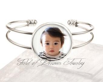 CUSTOM PHOTO BRACELET Personalized Custom Silver Plated Photo Text Bracelet Your Words Bracelet Personalized Photo Text Custom Bracelet Gift
