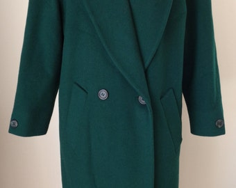 Vintage 80's JONES NEW YORK Double Breasted Wool Coat Forest Green
