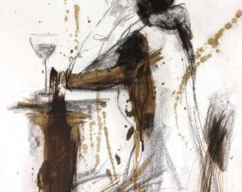 Artistic drawing, Giclee wall art print, Charcoal sketch, Modern artwork, Figurative art, Glass of wine, Graphic art, Woman, Female figure