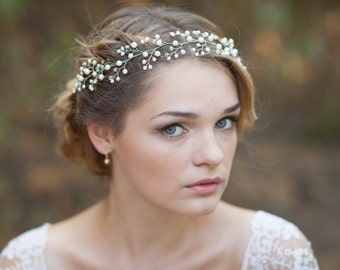 Wedding hair vine Bridal hair vine Bridal headpiece Bridal halo Pearl wedding headband Wedding headpiece Pearl hair piece Hair vine bridal