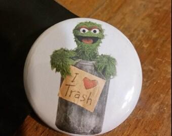 """oscar the grouch 1.25"""" button"""