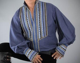 Men's Blue Shirt, Men's Folk shirt, Men's Polka Dots Shirt, Men's cotton Shirt, Men's Gypsy Shirt, Men's Ribbon Shirt, Blue Mens Shirt.
