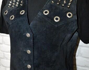 Vintage 70's waistcoat, customised punk waistcoat, spiked waistcoat/jacket. Goth/Punk. Size 12