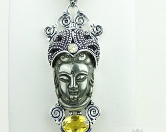 Totally Unique! Kwan Yin Guanyin BUDDHA Goddess Face Moon Face 925 S0LID Sterling Silver Pendant + 4MM Chain & Free Shipping p3763