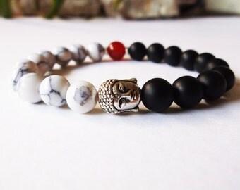 Buddha bracelet. Spiritual yoga bracelet. Buddhist jewelry. Black onyx, carnelian, howlite. Yin yang bracelet. Genuine stone. Stretch