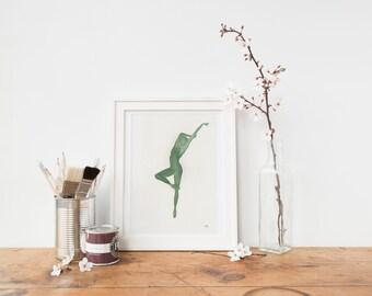 Ballet Dancer Watercolour Painting Original | Green