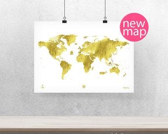 Mundo mapa pster cielo azul Versin A3 10 x 8 14